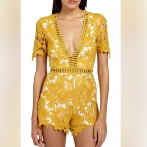 Missguided ladder stitch lace romper 2 yellow